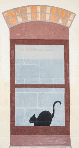 a painted window with a cat