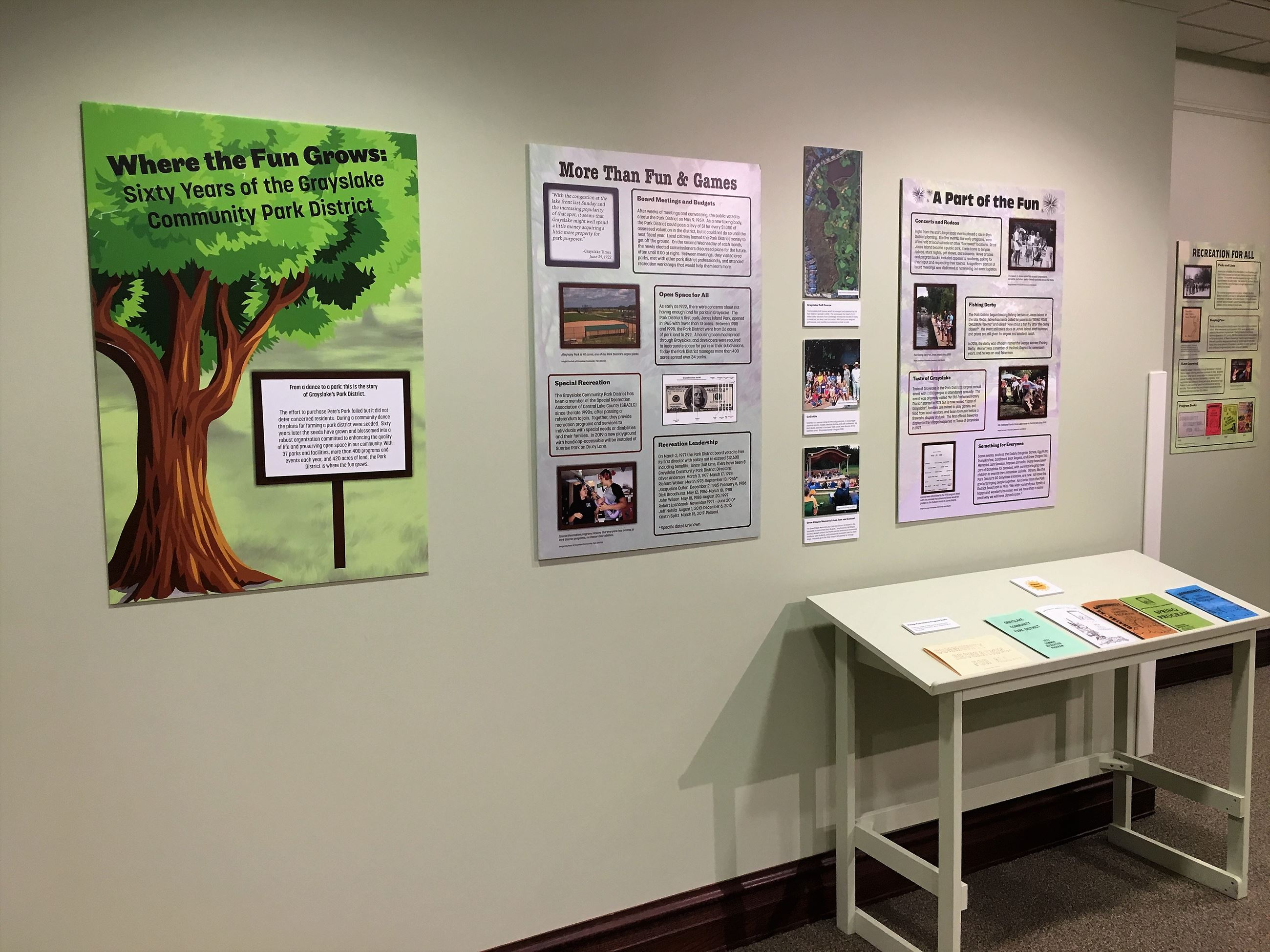 First panels of the exhiibit with 1970s and 1980s program books on display